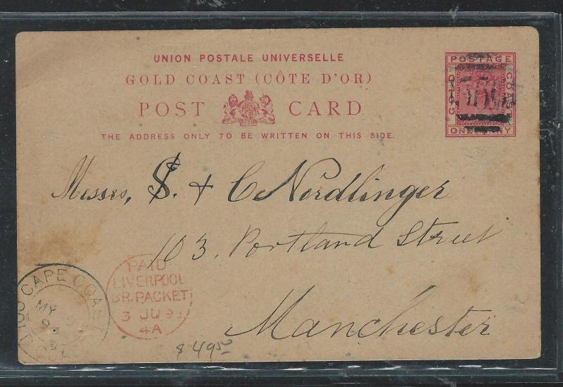 GOLD COAST (P1106B) 1893  QV 1D PSC FROM  CAPE COAST 556 LIVERPOOL PKT TO ENGLAN