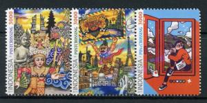 Indonesia 2017 MNH Postcrossing Statue of Liberty Eiffel Tower 3v Set Stamps