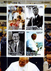 Pope John Paul II-Kennedy-Diana Sheet Perforated Mint (NH)