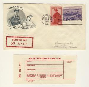 US - 1955 Scott FA1 FDC (+ 994) 15c Certified Mail (+receipt) Art Craft Cachet =