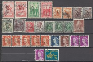 COLLECTION LOT OF #994 AUSTRALIA 27 PERFIN STAMPS 1914+ CLEARANCDE 2 SCAN