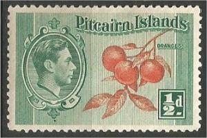PITCAIRN ISLANDS, 1940, MVLH 1/2p, Oranges Scott 133