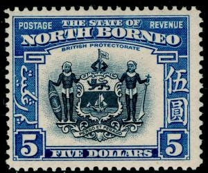 NORTH BORNEO SG317, $5 indigo & pale blue, LH MINT. Cat £850.