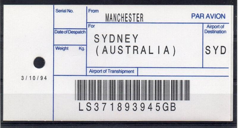 GB = (1994) ROYAL MAIL `Bag Tag` MANCHESTER to SYDNEY. Unusual. (01.16)