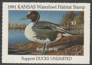 U.S.-KANSAS 5, STATE DUCK HUNTING PERMIT STAMP. MINT, NH. VF