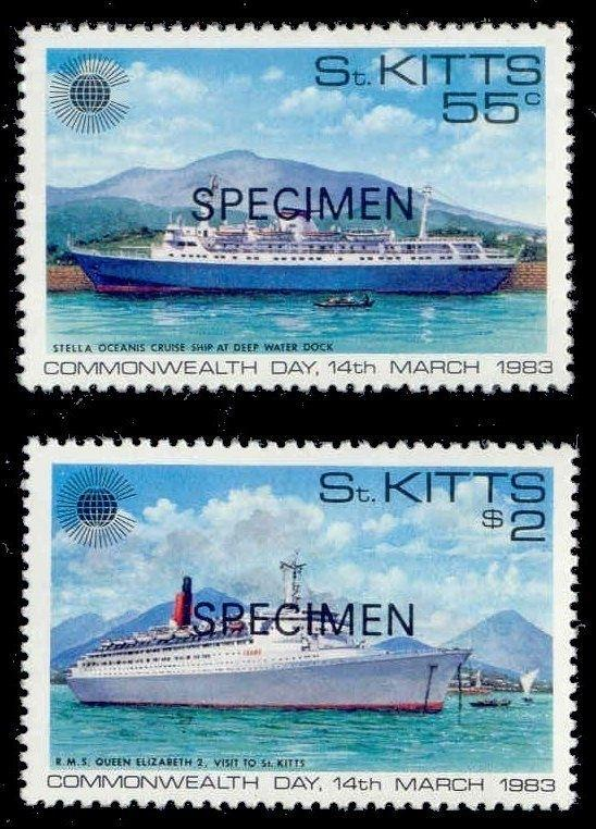 St Kitts 1983 Commonwealth Day w/ SPECIMEN Ovpt (Scott # 106-107)