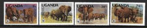 1983  UGANDA  -  SG. 406 / 409  -  AFRICAN ELEPHANT  -  WWF  -  MNH