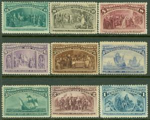 EDW1949SELL : USA 1893 Sc #230-38 Mint Original Gum Hinged Small faults Cat $549