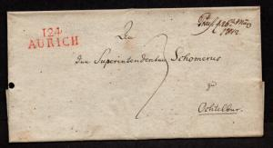 $German Stampless Cover, 124 Aurich (red) to Ochtelbur