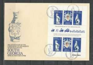 South Georgia 2 FDCs, 1978 Coronation, set & Sheetlet, Unaddressed