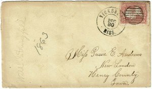 1863 Vicksburg, MS cancel on cover during Union occupation, 3c Scott 65