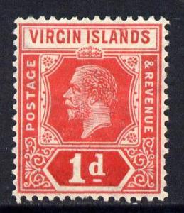 British Virgin Islands 1921 KG5 Script CA 1d red die II m...