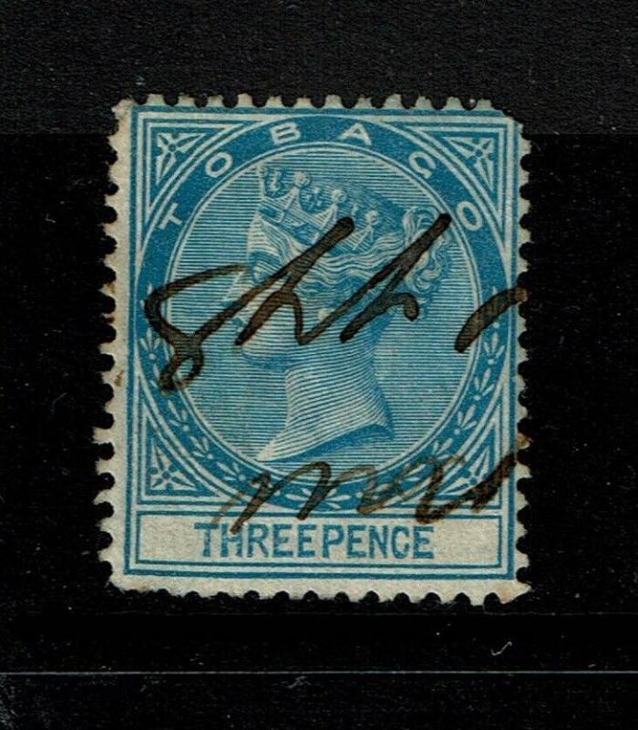 Tobago SG# 2 Used / Wmk CC / Pen Cancel / Hinge Rem - S6223