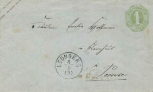 Germany Wurttemberg 1Kr Numeral Envelope c1870 Leonberg to Perouse.