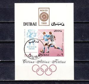 Dubai, Mi cat. 322, BL49. Summer Olympics s/sheet. Canceled, CTO.