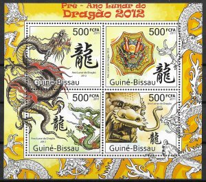 Guinea-Bissau MNH S/S Lunar Year Of Dragon #2 2012