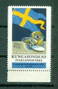 Sweden Poster Stamp Mnh 1944. Kings Foundation. Swedish Flag. Perforated