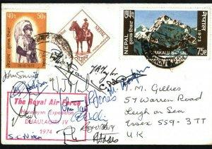 NEPAL Card ROYAL AIR FORCE Himalayan Exhibition Signed Dhaulagiri 1974 LS178