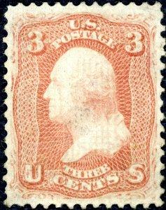 #94 – 1867 3c Washington, red. Unused NG XF-Gem.