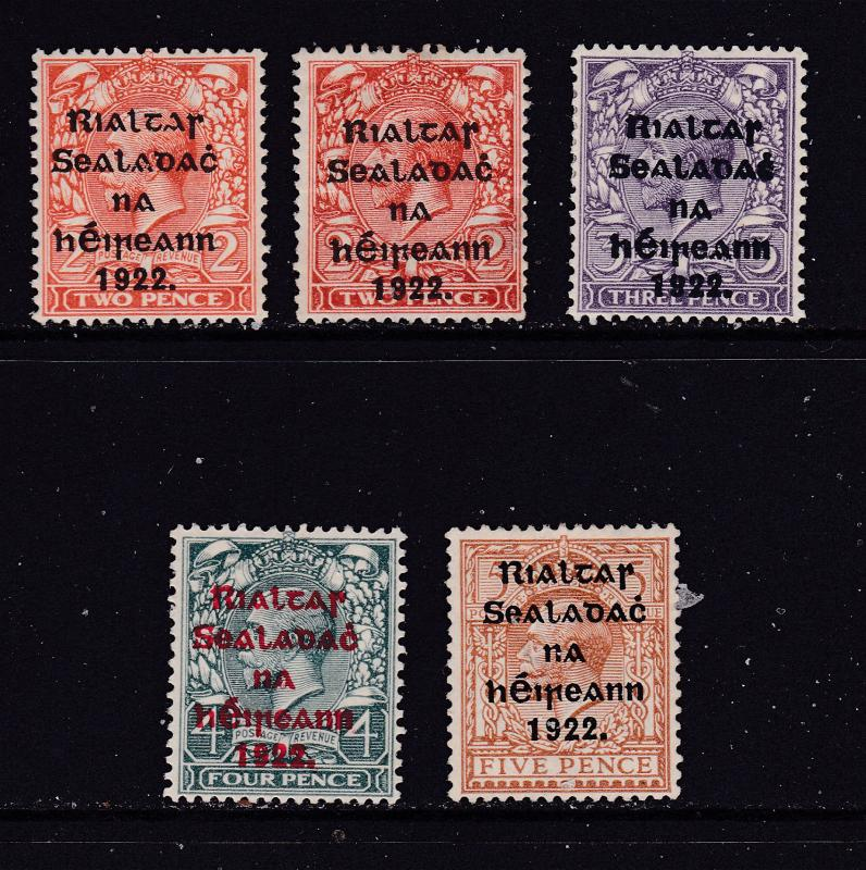 Ireland x 5 MH GB KGV overprints 1922