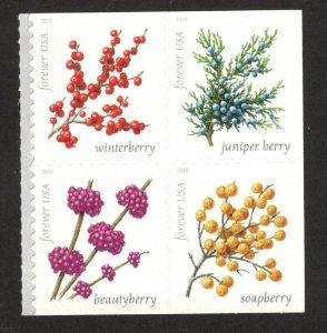 5415-18 Winter Berries Block Of 4 Mint/ng FREE SHIPPING