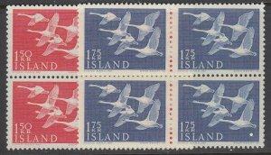 Iceland, Scott 298-299, MNH block of four