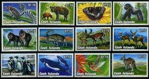 HERRICKSTAMP COOK ISLANDS Sc.# 1095-1106 Animals (Elephant, Rhino, Kangaroo)