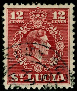 ST. LUCIA SG153, 12c claret, FINE USED.