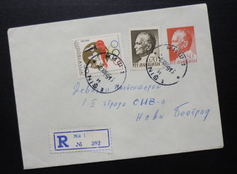 Yugoslavia 1969 Uprated Registered Postal Stationery from Nis to Beograd  A2