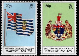 British Indian Ocean Territory BIOT Scott 108-109  MH* Flag Coat of Arms set