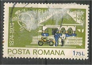 ROMANIA, 1974, used 1.75 l, UPU Emblem Scott 2489