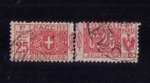 ITALY Scott #Q10 Back of Book USED Complete Pair Seperated Center F-VF