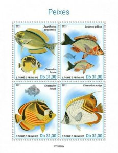 St Thomas - 2021 Fishes, Snapper, Butterflyfish - 4 Stamp Sheet - ST210211a