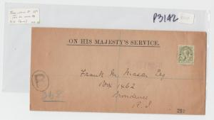 TURKS & CAICOS 1917 OHMS COVER REGISTERED TO USA, 5d RATE (SEE BELOW)