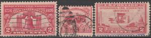 US #627, 629, 649 F-VF Used  CV $3.00  (S5760)