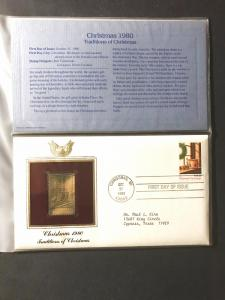 US #1843 and Gold-Plated Stamp