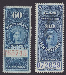 2 x Canada Gas Inspection revenue stamps 60c and $10