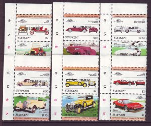 J24519 JLstamps 1983 st vincent specimen set pairs mnh #687-92 cars autos