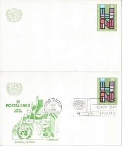 United Nations New York UX6 Postal Card Mint and Fleetwood FDC