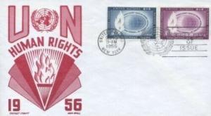 UN #47/48 HUMAN RIGHTS 1956 - CC - Boll U/A Combo