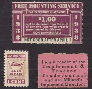 BUSINESS, INDUSTRIAL & TRADEMARK STAMPS: THREE incl Tire Mounting Stamp Tractors