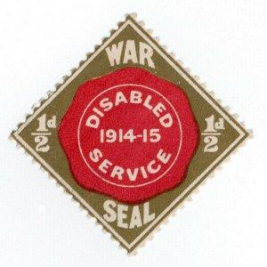 (I.B) Great War Cinderella : Disabled Service Charity Seal ½d