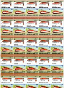 Union Island 1986 Trains/TGV/Locomotives 8 Sheetlets of 25 Pairs each Mi#192/207