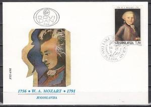 Yugoslavia, Scott cat. 2092. Composer Mozart issue on a First day cover.
