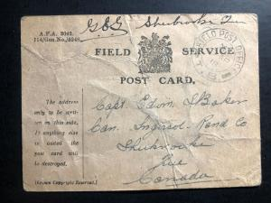 1917 Fieldpost Canada Postcard Censored OAS WW1 Cover to Sherbrooke