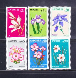 Andorra French 222-227 Set MH Flowers (A)