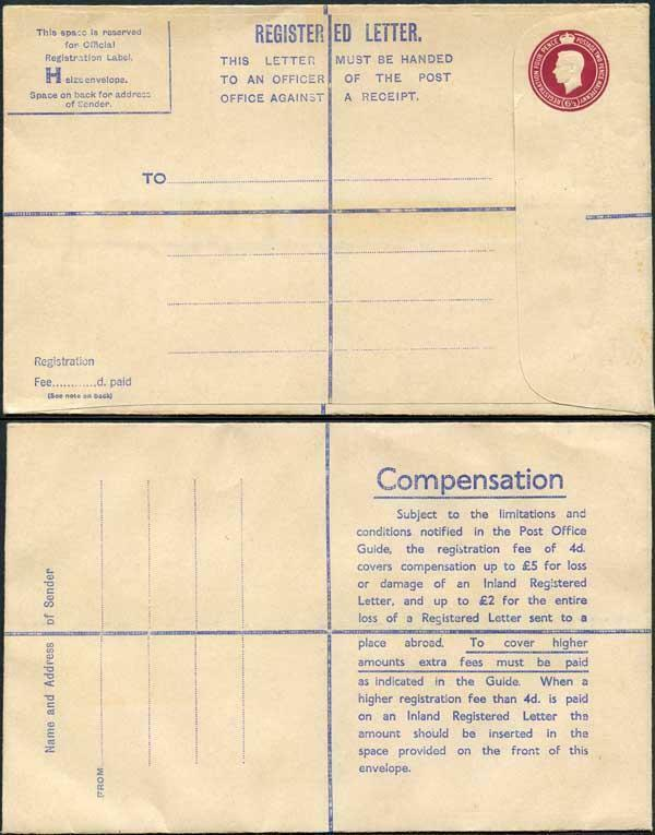 RP68 KGVI 6 1/2d Puce Registered Envelope Size H And Up To 2 on Back Mint