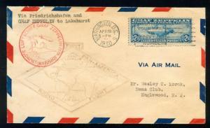momen: US Stamps #C15 Graf Zeppelin FDC APRIL 19 1930 VF