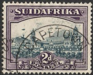 South Africa 1938 KGVI 2d Blue & Violet Single with Airship Flaw Used