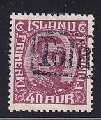 Iceland    #123  used   1921  Christian X   40a  claret   revenue cancellation